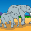 Stock Vector: Mother and baby elephant