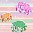 Seamless elephant pattern on pink stripped wallpaper — Stock Vector