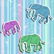 Seamless elephant pattern on stripped wallpaper — Stock Vector