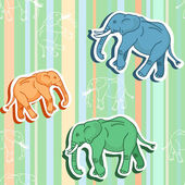 Seamless elephant pattern on green stripped wallpaper — Stock Vector
