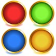 Stock Vector: Colorful buttons with gold bevel-set1