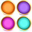 Stock Vector: Colorful buttons with gold bevel-set2
