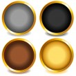 Stock Vector: Colorful buttons with gold bevel-set3