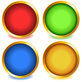 Colorful buttons with gold bevel-set1 — Stock Vector