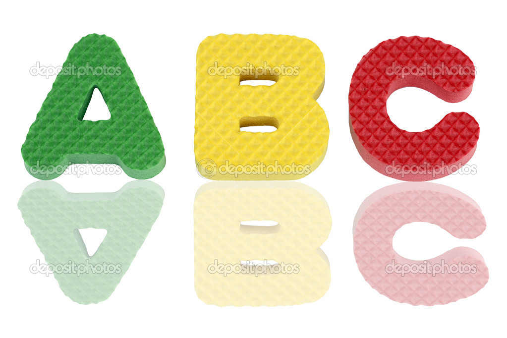 Fun colorful A B C alphabet letters in green, yellow and red textured foam with reflections.  Stock Photo #7242505