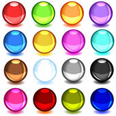 Collection of colorful glossy spheres — Stock Vector