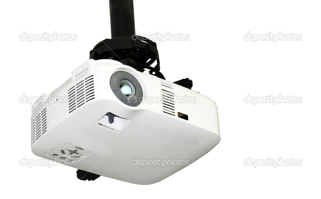 Close-up of a multi-media projector attached to the ceiling isolated on white — Stock Photo #7320817