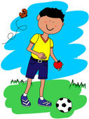 Little boy with ball and apple — Stock Vector