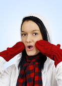 Cute oh my surprised winter girl — Stock Photo