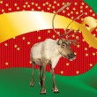 Reindeer caribou on funky Christmas background — Stock Photo