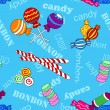 Seamless candy pattern over blue with bonbon and candy text - Stock Vector
