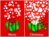 Before and after gift Christmas card — Stock Vector