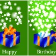 Birthday card with closed and opened gift — Stock Vector
