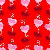 Patrón de forma de corazón transparente sobre rojo — Vector de stock