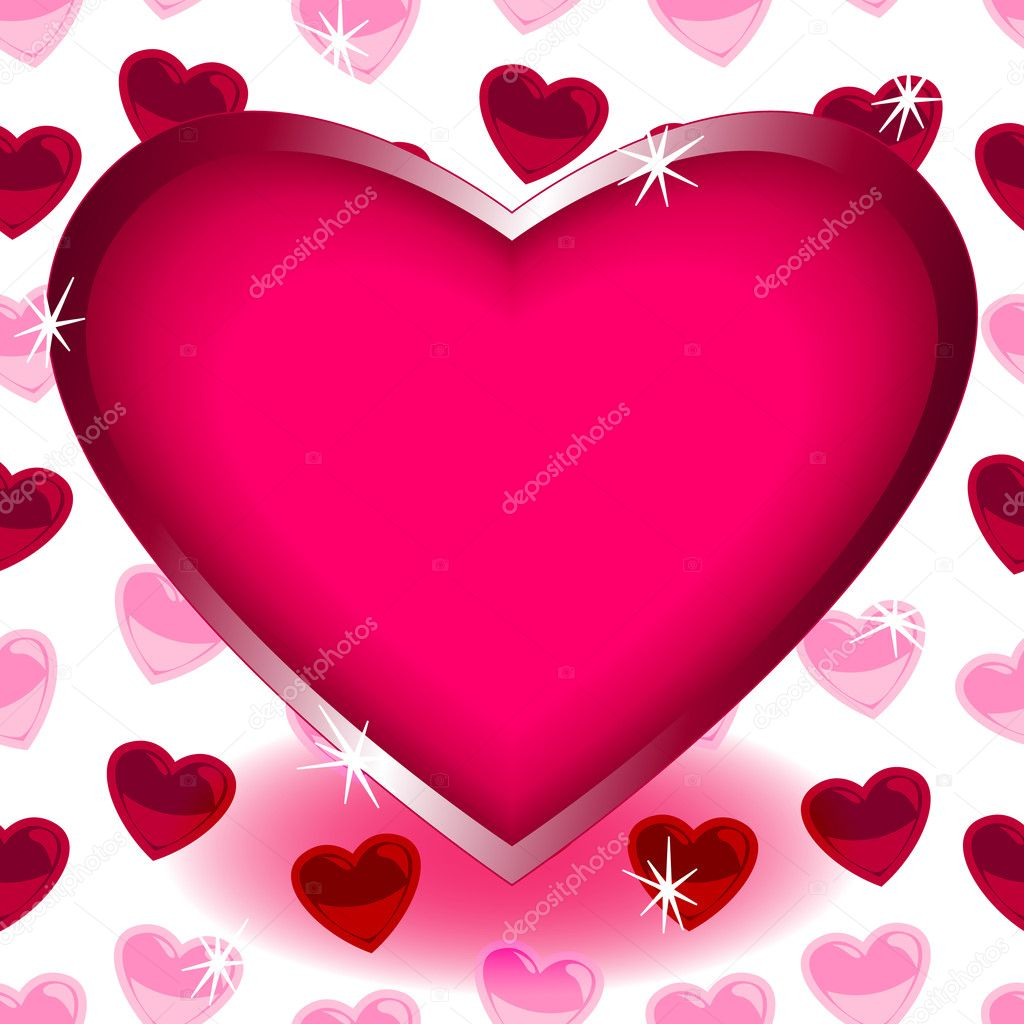 Big heart over seamless heart shape pattern – Stock Illustration