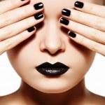 High fashion style, manicure, cosmetics and make-up. Dark lips make-up — Stock Photo