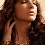 Portrait of charm young beautiful brunette woman. Fashion model — Stock Photo