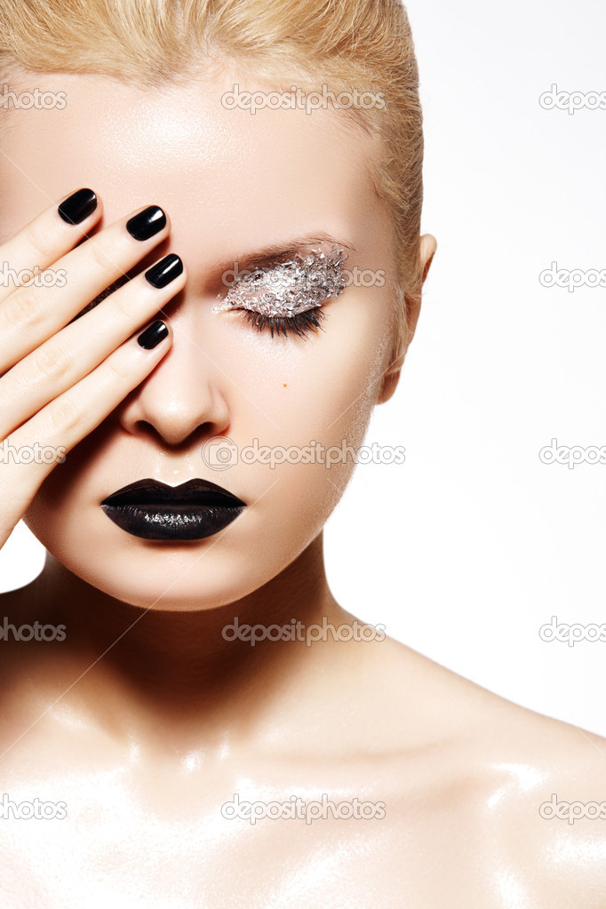 High Fashion Style Manicure Cosmetics And Make Up Dark Lips Make Up Stock Photo