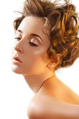 Beautiful face of glamour woman with fashion curly hairstyle and make-up — Stock Photo