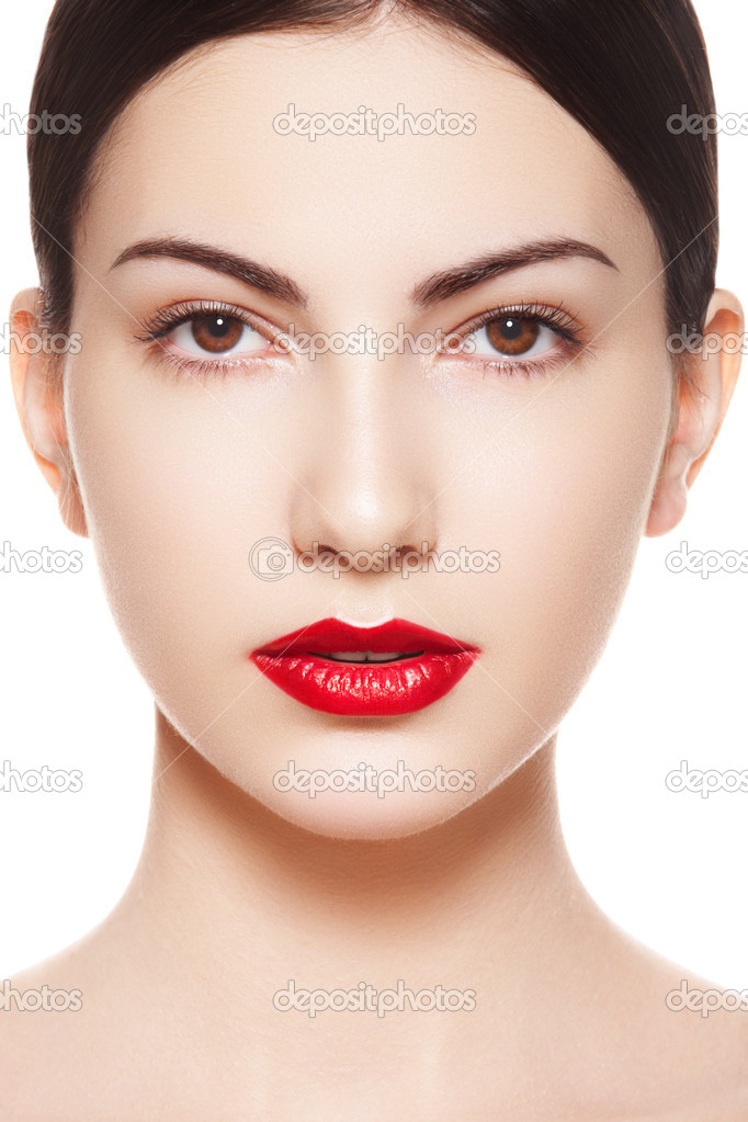 Closeup portrait of sexy caucasian young model with glamour red lips