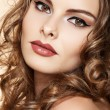 Beautiful womwith fashion make-up and shiny curly hair — Stock Photo #6913475