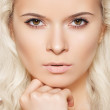 Alluring model face with naturel daily spa make-up and long blond hair — Stock Photo