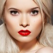 Doll style. Sensual woman model with fashion bright red lips make-up — Stock Photo #6913829