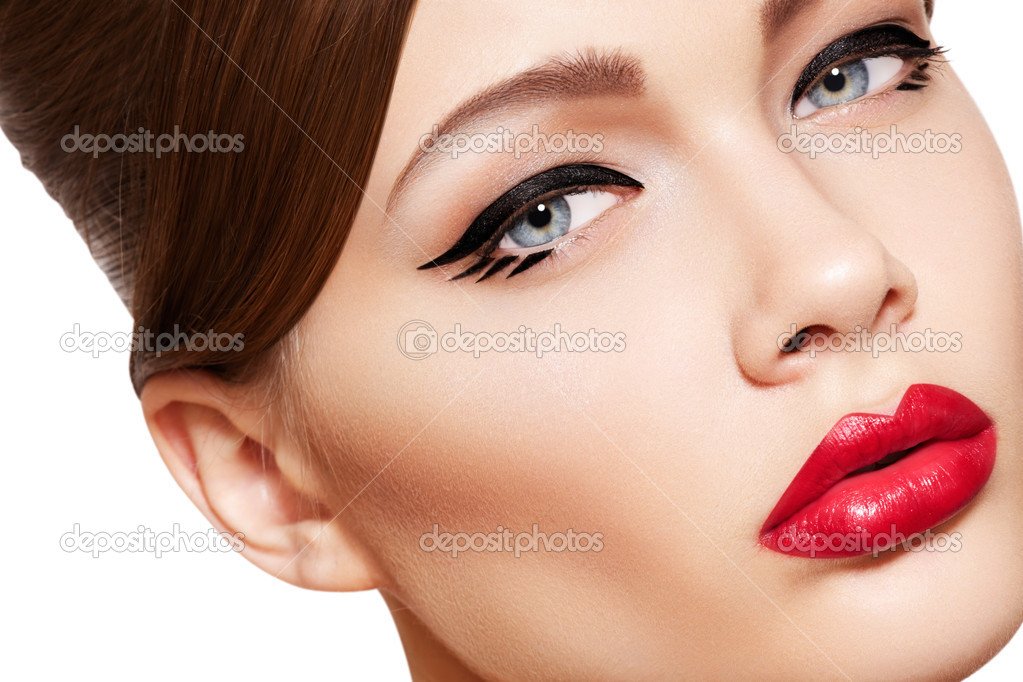 Closeup portrait of sexy caucasian young woman model with glamour red lips