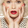 Stock Photo: Portrait of beautiful young sexy womwith vintage make-up and hairstyle
