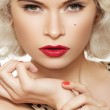 Portrait of beautiful young sexy woman with vintage make-up and hairstyle — Stock Photo
