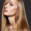 Well-being & spa. Sensual woman model with shiny straight long hair — Stock Photo