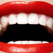 Close-up happy female smile with healthy white teeth, bright red gloss lips — Stock Photo