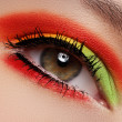 Cosmetics and beauty care. Macro close-up of beautiful green female eye — Stock Photo #7839877