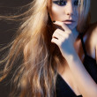 Beautiful young woman model with perfect long windswept hair - Stock Photo