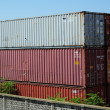 Containers at harbour - Stock Photo