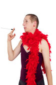 Young man dressed like a woman — Stock Photo