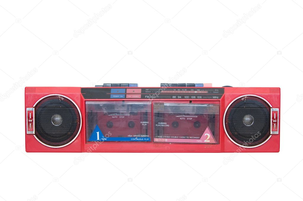 Vintage portable audio system - radio and cassette player — Stock Photo #7247083