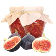 Fig fruits and fig jam isolated on white — Stock Photo