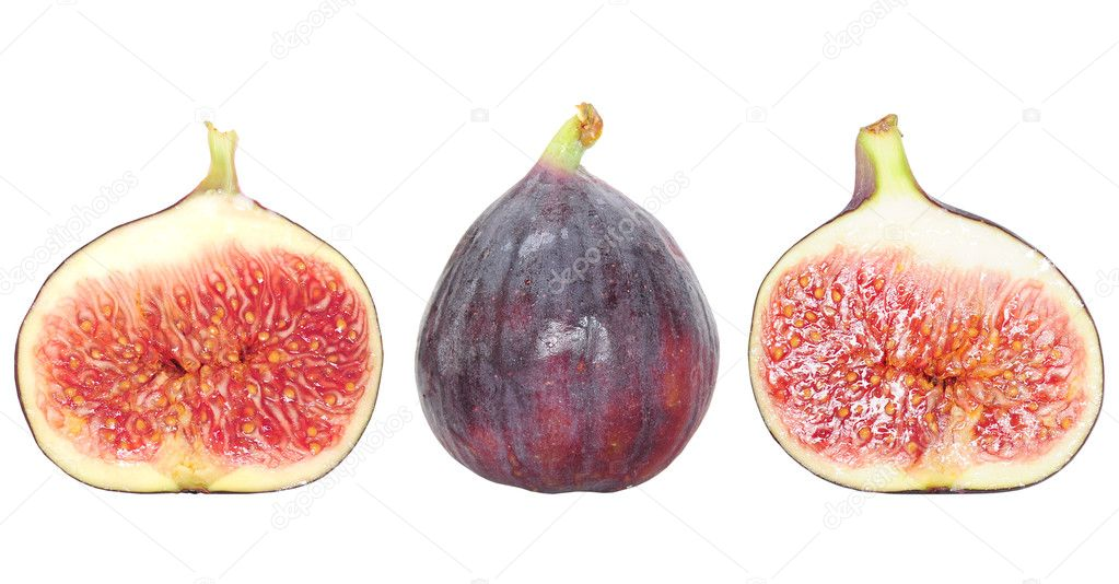 Closeup of fresh whole fig fruit and fig halvesisolated on white — Stock Photo #7582203