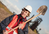 Worker with shovel — Foto Stock