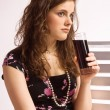 Girl with a glass of coke — Stock Photo