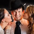 Stock Photo: Two girls and one guy