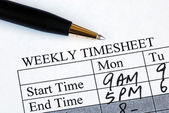 Enter the weekly time sheet concepts of work hours reporting — Stock Photo