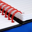 Close up view on the red spiral rings notebook concept of education or busi — Foto de Stock