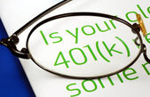 Focus on the investment in the 401K plan concept of finance and retirement — Stock Photo