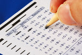 Fill in the computer grade answer sheet from a test or examination — Stock Photo