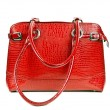 Red leather ladies handbag — Zdjęcie stockowe #6840096