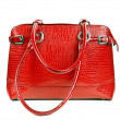 Stockfoto: Red leather ladies handbag
