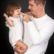 Dad plays with daughter — Stock Photo