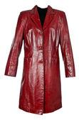 Red leather coat female — Stock Photo